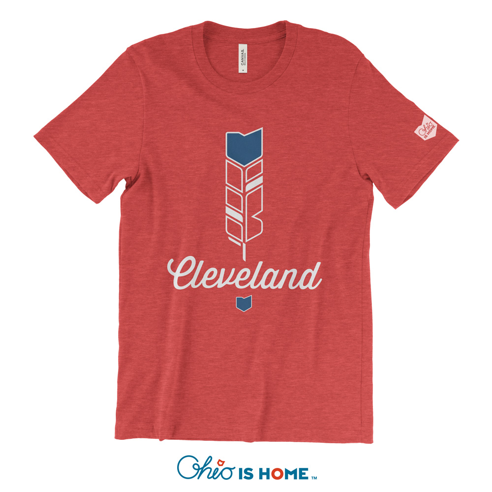 Cleveland ohio feather tshirt show off your home for Cleveland t shirt printing